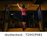 woman doing lifting up on the... | Shutterstock . vector #724419481