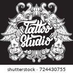 tattoo studio. vector... | Shutterstock .eps vector #724430755