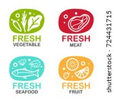 fresh food logo sign with... | Shutterstock .eps vector #724431715
