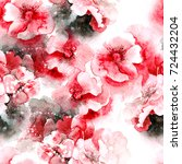 watercolor flowers seamless... | Shutterstock . vector #724432204