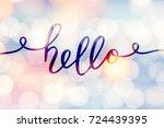 hello vector lettering  card...   Shutterstock .eps vector #724439395