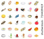 cooking icons set. isometric... | Shutterstock .eps vector #724439419