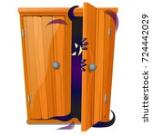a ghost peeks out of the closet ... | Shutterstock .eps vector #724442029