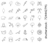 forest icons set. outline style ... | Shutterstock .eps vector #724442791