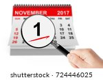 Small photo of All Saints Day Concept. 1 November 2017 Calendar with Magnifier on a white background