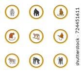 zoo monkey icons set. cartoon... | Shutterstock .eps vector #724451611