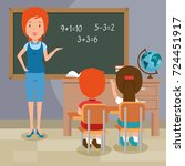 back to school teacher teaching ... | Shutterstock .eps vector #724451917