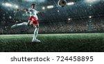 soccer player performs an... | Shutterstock . vector #724458895