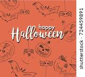 halloween vector design with... | Shutterstock .eps vector #724459891