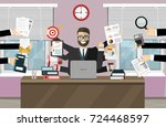 business man surrounded by... | Shutterstock .eps vector #724468597