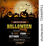 halloween party invitation with ... | Shutterstock .eps vector #724469911