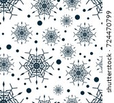 snowflake seamless pattern or... | Shutterstock .eps vector #724470799