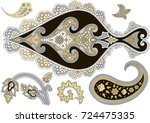 set of paisley elements on the... | Shutterstock .eps vector #724475335