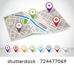 city map with pin icons | Shutterstock .eps vector #724477069