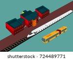 isometric objects  train  bus ... | Shutterstock .eps vector #724489771
