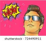 wow pop art male face. young... | Shutterstock .eps vector #724490911