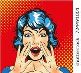 woman screaming announcement....   Shutterstock .eps vector #724491001