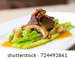 close up of stir fried mushroom ... | Shutterstock . vector #724492861