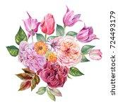 flowers bouquet.watercolor | Shutterstock . vector #724493179