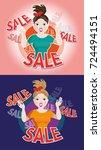 shopping sale banner templates...   Shutterstock .eps vector #724494151
