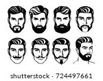 bearded man head silhouette... | Shutterstock .eps vector #724497661