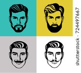 bearded man head silhouette... | Shutterstock .eps vector #724497667