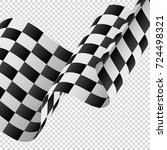 waving checkered flag on... | Shutterstock .eps vector #724498321