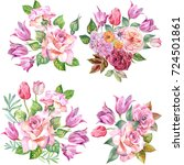 set of bouquets.watercolor | Shutterstock . vector #724501861