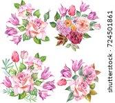 set of bouquets.watercolor   Shutterstock . vector #724501861