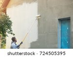 house painter painting building ... | Shutterstock . vector #724505395