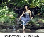 a beautiful half caste lady in... | Shutterstock . vector #724506637