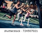 group of sports people are... | Shutterstock . vector #724507021