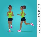 running afro american girl in...   Shutterstock .eps vector #724511611