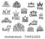vector crown logo. hand drawn... | Shutterstock .eps vector #724512331
