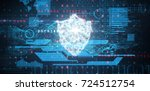 interface against shield and... | Shutterstock . vector #724512754