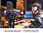 studio condenser microphone on... | Shutterstock . vector #724513255