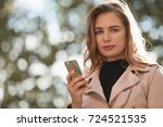 young woman portrait with smart ... | Shutterstock . vector #724521535