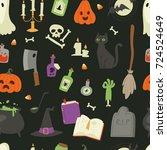halloween carnival symbols... | Shutterstock .eps vector #724524649