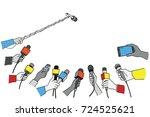 various press reporter hands... | Shutterstock .eps vector #724525621