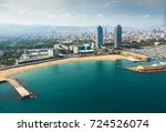 beach in barcelona seaside ... | Shutterstock . vector #724526074