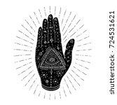 mystic hand with eye. hamsa.... | Shutterstock .eps vector #724531621