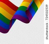 waving lgbt flag on transparent ... | Shutterstock .eps vector #724532539