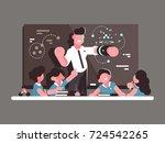school teacher at lesson.... | Shutterstock .eps vector #724542265
