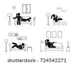 stick figure resting at home... | Shutterstock . vector #724542271