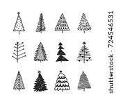 hand drawn set of christmas...