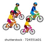 african family riding a bicycle | Shutterstock .eps vector #724551601