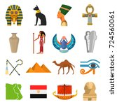 egypt culture set. ancient...   Shutterstock .eps vector #724560061