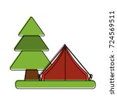 camping tent surrounded by... | Shutterstock .eps vector #724569511