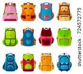 school kids school backpack... | Shutterstock .eps vector #724572775