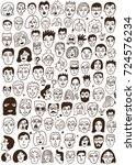 faces of people   hand drawn... | Shutterstock .eps vector #724576234